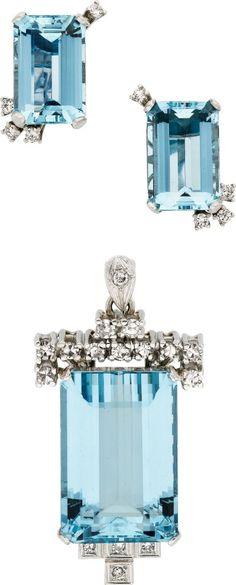 Retro Aquamarine, Diamond, Platinum Jewelry Suite.