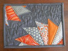 Teaginny Designs: Gray and orange mug rug