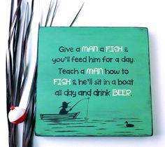 Sale  Wood Sign Teach a Man to Fish & Hell by HandmadeByLeeAnn, $16.99