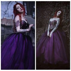 Fuchsia Long Gothic Ball Gown Prom Dress / Model: Effy Moon / www.d-roseblooming.com