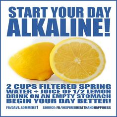 Water with lemon to start the day #Alkalinediet