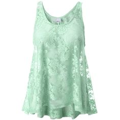 Gina Tricot - Lucy lace tank Ice (6080) ($23) ❤ liked on Polyvore