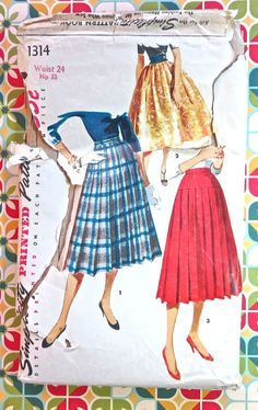 Simplicity 1314   1950s Womens Pleated Skirts Pattern by Fragolina, $8.00