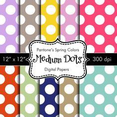Pantones Spring Colors Medium Polka Dots Digital by HeadsUpGirls, $4.50