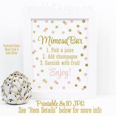 Mimosa Bar Sign - Blush Pink Gold Glitter Baby or Bridal Shower Ideas - Sip N See Party Sign - Birthday Party - Printable 8x10 Table Sign