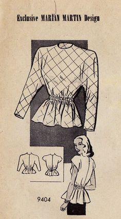 1940s Misses Princess Seam Peplum Blouse by MissBettysAttic, $20.00