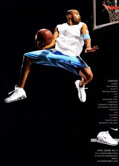 Vince Carter can not be explainedNike Shox VC II Basketball Legends, Sports Basketball, Basketball Players, Slam Dunk, Lebron James, Nike Poster, Michael Jordan Pictures, Nike Ad, Baskets