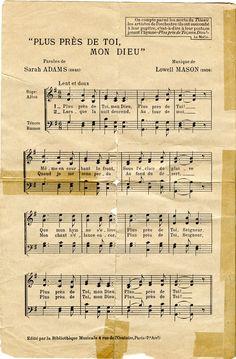 """Partition musicale de l'hymne """"Plus près de toi, mon Dieu"""" exécuté à bord du Titanic dans la nuit du 14 au 15 avril 1912 et éditée en 1912 au bénéfice de la Société Centrale de Sauvetage des Naufragés (Paris). En mémoire des artistes de l'orchestre ayant succombé à leur pupitre, c'est à dire à leur poste, en jouant l'hymne.  (Page 1)"""