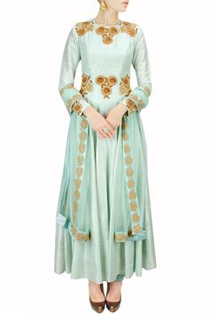 Mint green floral embroidered anarkali set BY BHUMIKA SHARMA. Shop now at: www.perniaspopups... #perniaspopupshop #designer #stunning #fashion #style #beautiful #happyshopping #love #updates