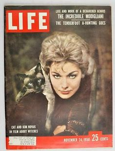 Fetching Kim Novak and cat 'Pyewacket' on 1958 cover