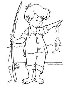 Summer Coloring Book Pages - Fishing 06