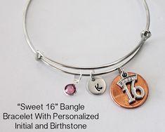 Sweet 16 Bracelet.  Bangle Bracelet. Initial by JewelryImpressions