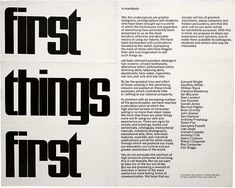The original First Things First manifesto