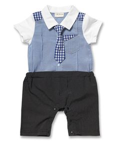 Look what I found on #zulily! Blue Plaid Suit Romper - Infant by Little Youngster #zulilyfinds