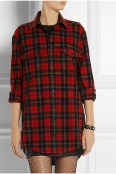 Saint Laurent   Plaid wool shirt   NET-A-PORTER.COM