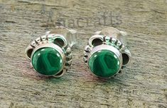 Outstanding Green Malachite Sterling Silver Overlay 5 Grams Stud//Earring 12 mm