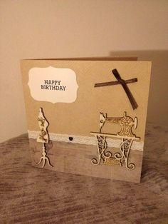 Seamstress Birthday Card Handmade Kraft Lace Trim by ZeusVintage, £3.00