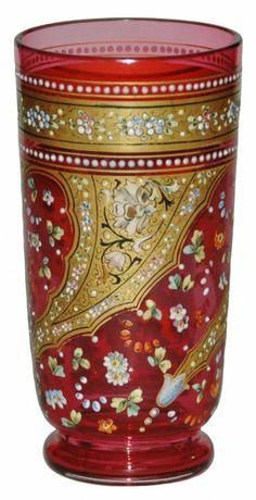 Moser Intricate Enamel Floral & Gilded Design Glass Beaker