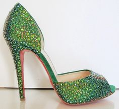 Apple green crystal heels by Gmomma  Happy St.Patrick's Day!
