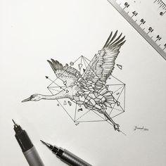 Geometric Beasts | Crane by kerbyrosanes