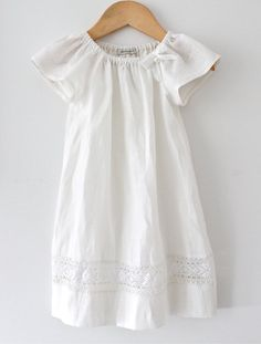 Baby Girl Baptism Dress-Soft Ivory Pure Linen and Lace Dress-Special Occasion Dress-Christening Dress-Children Clothing by Chasing Mini