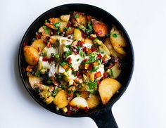 Pot luck: sautéed potatoes, cheese, olives and chard.