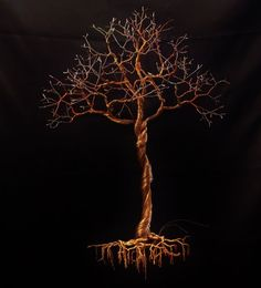 Copper Wire Tree Sculptur Hanging Wall Art. by ArtistrybyEFC, $250.00