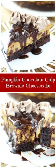 Total pumpkin decadence! This Pumpkin Chocolate Chip Brownie Cheesecake is RIDICULOUS. So good!