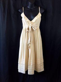 Cynthia Steffe Cream Spaghetti Strap Ruffle V Neck Sundress Tie Waist Sz Medium Casual Dresses, Formal Dresses, Fashion Deals, Spaghetti, V Neck, Tie, Cream, Medium, Cotton