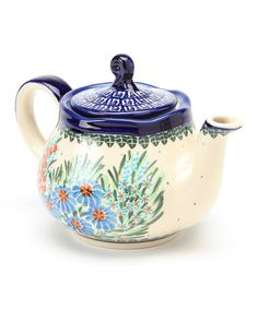Take a look at this Blue & Red Flower Fruti Teapot by Lidia's Polish Pottery on #zulily today!