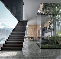 Foggy Lake House by Tung Le Xuan Hanoi . courtsey of Tung Le Xuan - Architecture and Home Decor - Bedroom - Bathroom - Kitchen And Living Room Interior Design Decorating Ideas - Model Architecture, Modern Architecture House, Modern House Design, Interior Architecture, Organic Architecture, Amazing Architecture, Modern Lake House, Stairs Architecture, Patio Interior