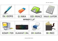 "BLOG EDUKACYJNY DLA DZIECI: WYRAZY Z ""U"" Printer Desk, Learn Polish, Polish Language, Hole Punch, Asd, Calculator, Computer Keyboard, Usb Flash Drive, Internet"