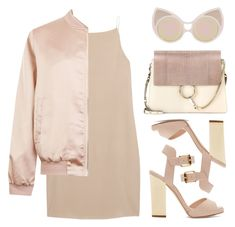 """""""NUDE"""" by baludna ❤ liked on Polyvore featuring Giuseppe Zanotti, T By Alexander Wang, Cameo Rose, Chloé and Linda Farrow"""