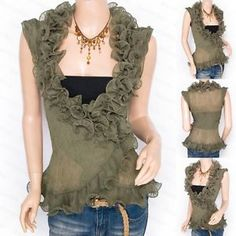 Trendy Green Chiffon Tiered Ruffles Crinkles Wrap Sleeveless Shirt Top