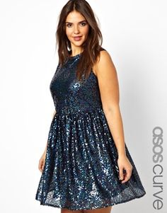 Image 1 ofASOS CURVE Smock Dress In Holographic Sequin