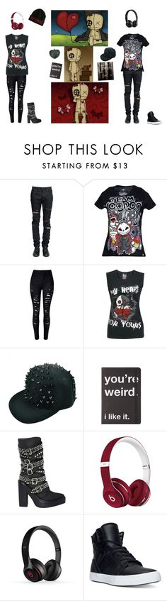 """Voodoo Doll"" by irken-invader-tak ❤ liked on Polyvore featuring Yves Saint Laurent, Jeffrey Campbell, Beats by Dr. Dre, Frontgate and Supra"