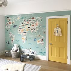 I would describe my own personal style as an eclectic mix of old and new. I love taking inspiration from traditional rustic French style and mixing it with clean contemporary Scandinavian design. Map Nursery, Nursery Decor, Bedroom Decor, Nursery Room, Oval Room Blue, Blue Rooms, Girl Room, Girls Bedroom, Baby Room