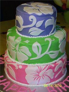 Birthday Luau - Hibiscus Cake Three-tier round cake - top layer was strawberry, middle layer white, bottom layer double chocolate chip -. Luau Wedding, Wedding Cakes, Beach Themed Cakes, Theme Cakes, Hibiscus Cake, Luau Birthday, Cake Birthday, Luau Cakes, Mom Cake