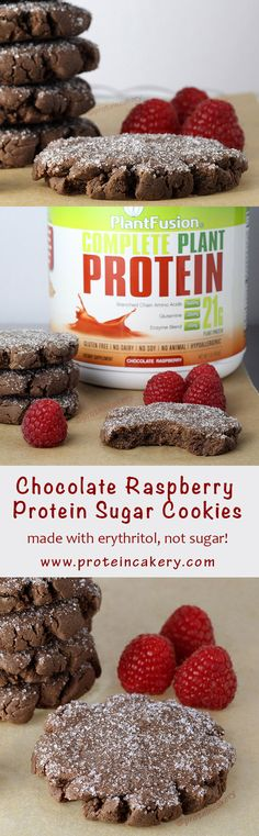 Chocolate Raspberry Protein Sugar Cookies! Made with @plantfusion   Complete Plant Protein - Andréa's Protein Cakery high protein recipes -vegan, protein cookies, bodybuilding, fitness food, iifym, baking with protein powder, vegan protein powder