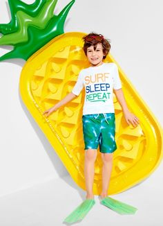 Surf, sleep, repeat | Boys' fashion | kids' clothes | Vacation | Short sleeve rashguard | Printed bathing suit | The Children's Place