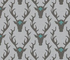 Fitted Crib Sheet in gray and turquoise deer head by HudsonBedford, $55.00