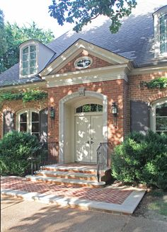 new pedimented door surround menzer mcclure architects orange brick housespaint color Windows Exterior, House Exterior, Exterior Trim, Red Brick Exteriors, House Paint Exterior, House Paint Color Combination