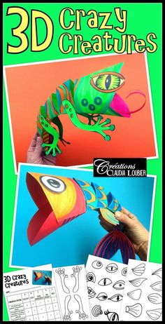 D Crazy Creatures Art Lesson Plan By Art With Creations - D Creatures Will Charm Your Students While Giving Them A Challengewith Some Simple Folding Cutting And Colouring Your Students Will Create A D Lizard This Document Contains Lots Of Different De Paper Art Projects, Animal Art Projects, Easy Art Projects, Cameleon Art, 6th Grade Art, Ecole Art, Art Lessons Elementary, Elementary Schools, Middle School Art