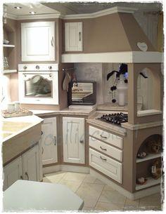 cucina country chic composizione con angolo bifacciale ... - Cucine Decapate