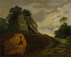 by Joseph Wright of Derby, 'Virgil's Tomb by Moonlight', 1779 ""