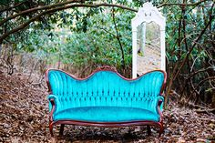 Victorian Couch in Vibrant Color for dressing room area