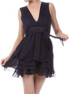 Lillie Sheer Navy Polka Dot Dress