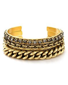 Elizabeth Cole 24kt Gold Plated Swarovski Crystal Three Chain Cuff | Bloomingdale's