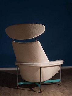 Finn JUHL 1912-1989 Rare fauteuil à haut dossier - 1957 Pièt