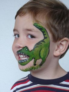 Dinosaur face painting for kids party! Face Painting Designs, Paint Designs, Body Painting, Dinosaur Face Painting, Boy Face, Dinosaur Birthday Party, Rainbow Birthday, Funny Birthday, Painting For Kids